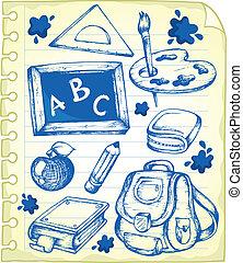 1, scuola, blocco note, disegni, pagina