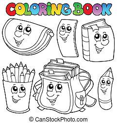 1, scuola, libro colorante, cartoni animati