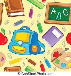 1, scuola, tema, fondo, seamless