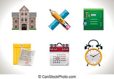 1, scuola, vettore, icons., parte
