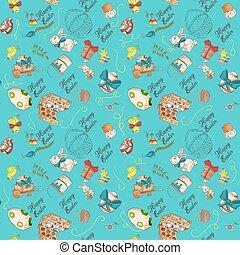 1, seamless, ケーキ, 孤立した色, デザイン, イースター, 休日, パターン, 挨拶, 鶏, 輪郭, 図画, ウサギ, 一輪手押し車, 装飾, 碑文, イラスト, 背景, いたずら書き, スタイル, 卵