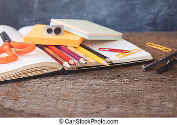 1 September concept postcard, teachers' day, back to school or college, supplies, flat lay