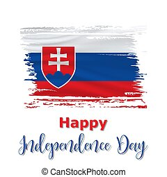 1 September, Slovak constitution day. Slovakia Independence Day background in national flag color theme. Celebration banner with waving flag. Vector illustration
