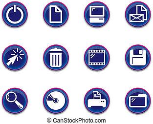 1, -, set, de pictogrammen van de computer