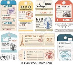 1, set, grunge, bagaglio, etichette