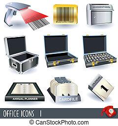 1, set, icone ufficio