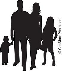 1, silhouette, famiglia