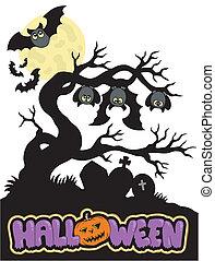 1, silhouette, halloween, cimetière