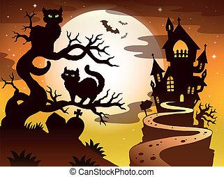 1, silhouette, thema, halloween