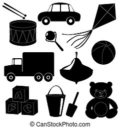 1, silhouettes, ensemble, jouets