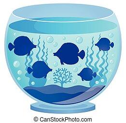 1, silhuetas, peixe, aquário