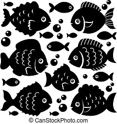 1, silhuetter, fish, sæt, tema