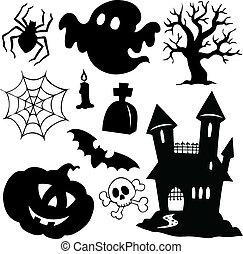 1, silhuetter, halloween, samling