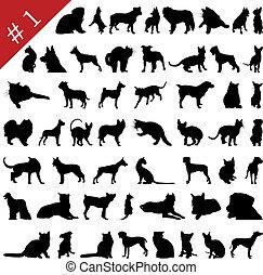 1, siluetas, #, mascotas