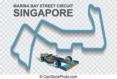 1, singapur, detallado, f1., pista, nacional, fórmula, prix, o, magnífico, circuito, pista, carrera