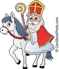 1, sinterklaas, cavallo, tema, immagine