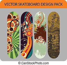 1, skateboard, disegno, pacco