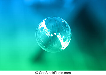 1 soap bubble on a green and blue background
