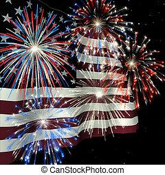 1, sobre, fogos artifício, bandeira, nós