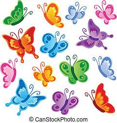 1, sommerfugle, adskillige, samling