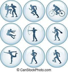 1, sport, komplet, ikony