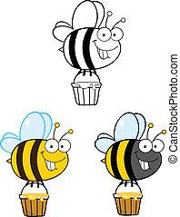 1, sprytny, komplet, zbiór, pszczoła