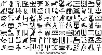 1, starożytny, komplet, hieroglyphs, egipcjanin
