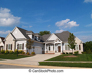 One story vinyl and stone residential home with garage in front containing plenty of copy space,
