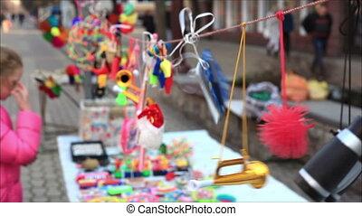 1, straat, verkoop, speelgoed