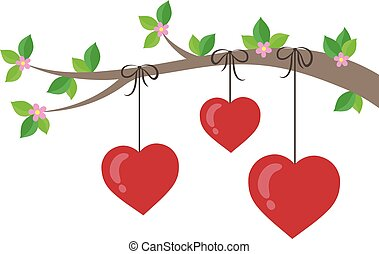 1, stylizowany, temat, gałąź, serca