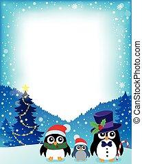 1, stylizowany, ułożyć, pingwiny, boże narodzenie