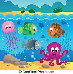 1, submarino, fauna, tema, océano