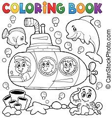 1, submarino, tema, libro colorear