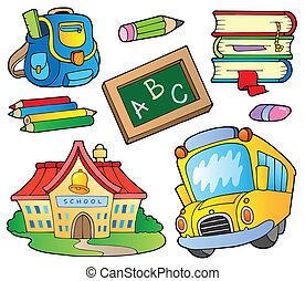 1, suministros, escuela, colección