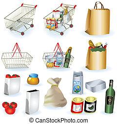 1, supermercato, icone
