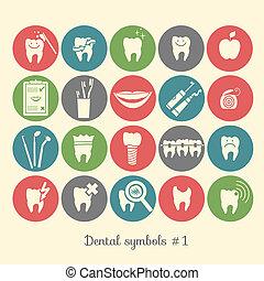 1, symbolen, deel, set, tandheelkunde