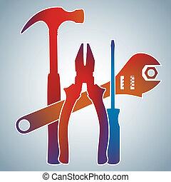 1, szín, gradiens, eszközök, gyűjtés