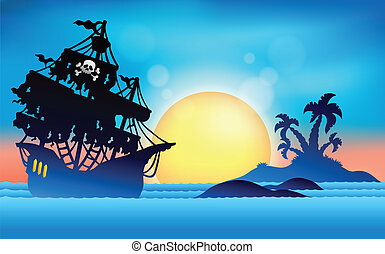 1, sziget, kicsi, hajó, kalóz