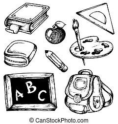 1, szkoła, rysunki, zbiór