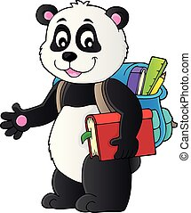 1, szkoła, temat, wizerunek, panda