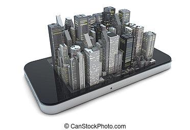 1, téléphone, intelligent, ville