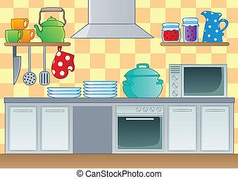 1, téma, kép, konyha