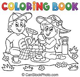 1, téma, színezés, piknik, könyv
