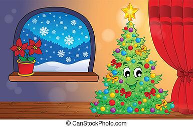 1, téma, szobai, karácsony