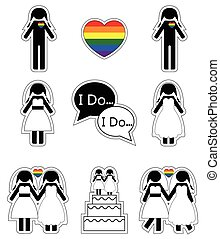 1, tęcza, kobieta, wesoły, ślub