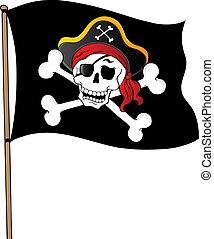 1, tema, bandera, pirata