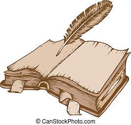 1, tema, bok, gammal, avbild