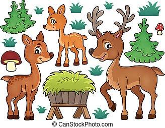 1, tema, cervo, collezione