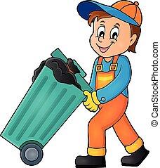 1, tema, cobrador, imagem, lixo