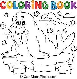 1, tema, coloração, morsa, livro